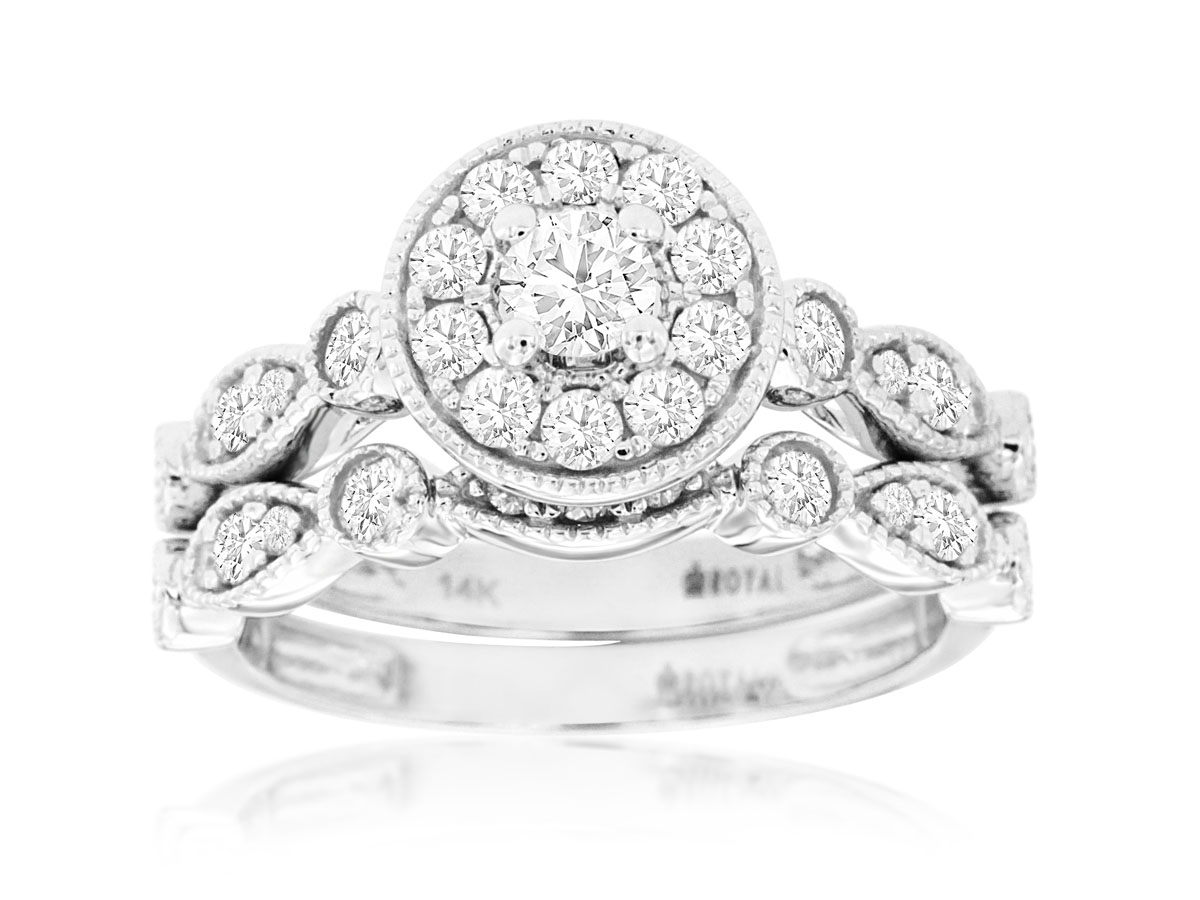 14Kt White Gold Round Diamond Halo Set by Royal Jewelry