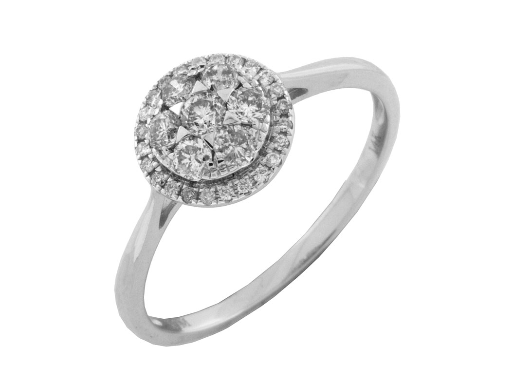 14K White Gold Round Halo Diamond Engagement Ring by Royal Jewelry