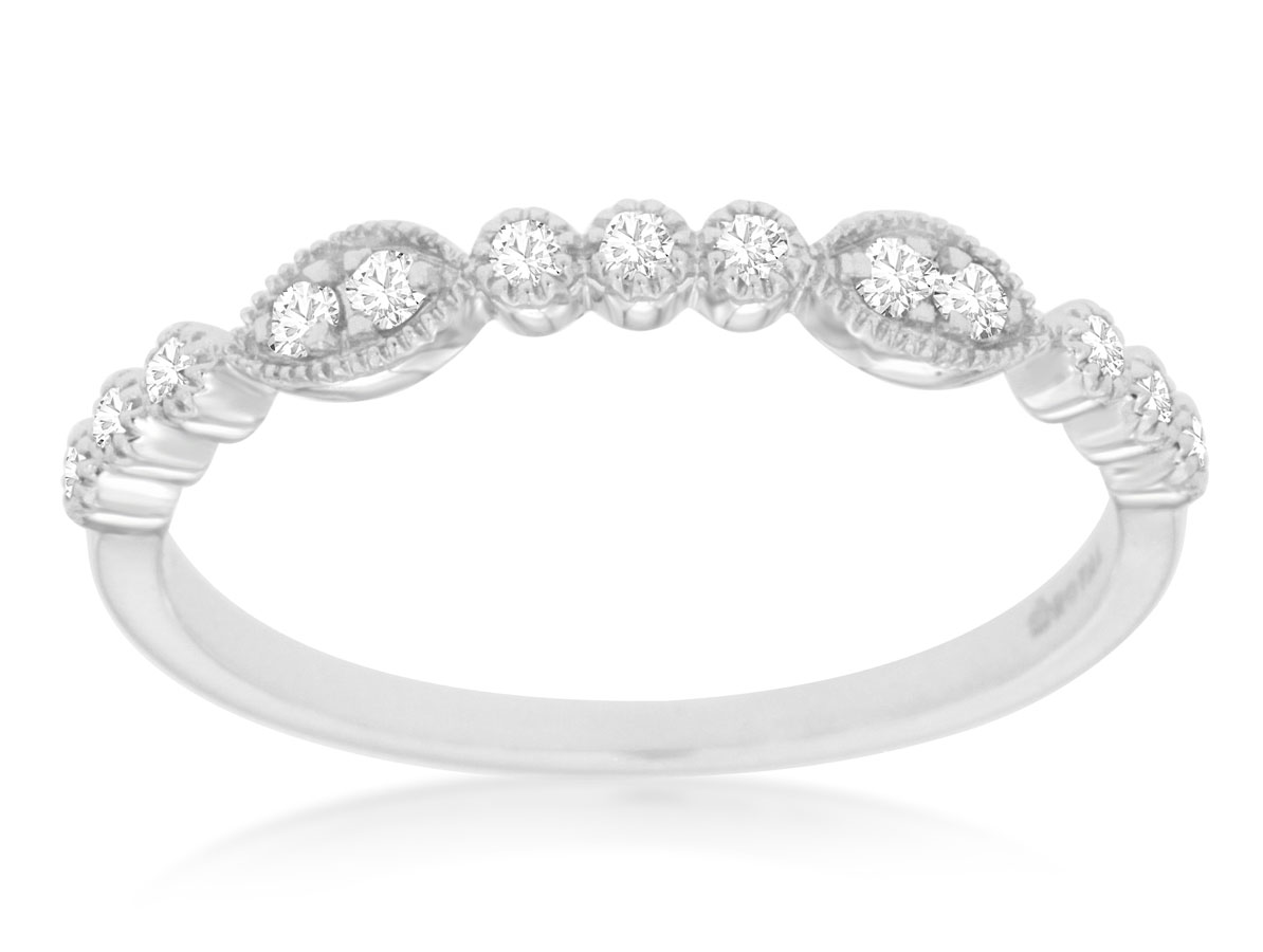 14K White Gold Diamond Stackable Band by Royal Jewelry