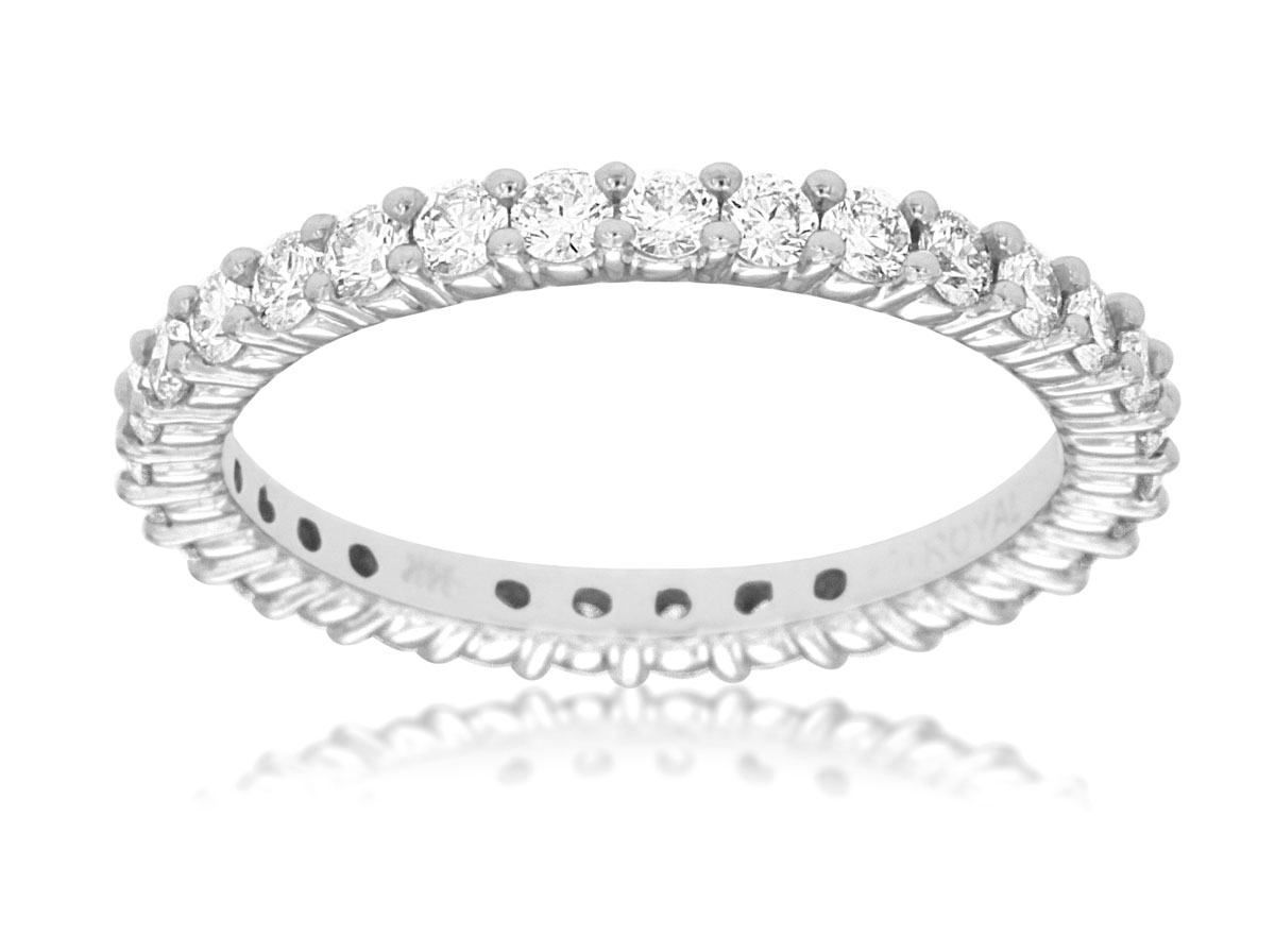 14K White Gold 1.15ctw Diamond Eternity Band by Royal Jewelry