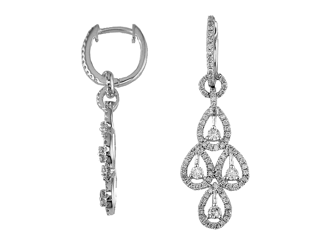 14K White Gold 1.15ctw Diamond Fashion Earrings by Royal Jewelry
