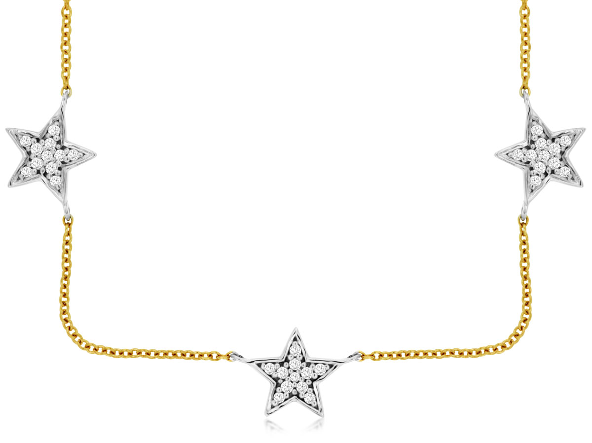 14Kt Two-Tone Star Necklace. by Royal Jewelry