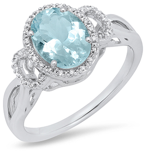 Ladies White Gold Oval Aquamarine and Diamond Ring by Samuel Spil Company