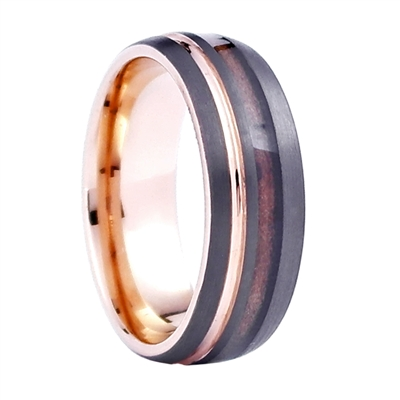 Comfort Fit Domed 8MM Tungsten Carbide Ring with Genuine Wood from Jack Daniels Whiskey Barrel Inlay and Rose Gold Color Accents by Steel Revolt