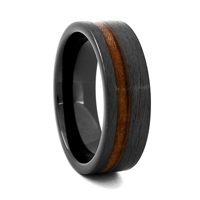 "Comfort Fit ""Charred"" 8mm High-Tech Ceramic Ring With Genuine Wood from Jack Daniels Whiskey Barrel Inlay by Steel Revolt"