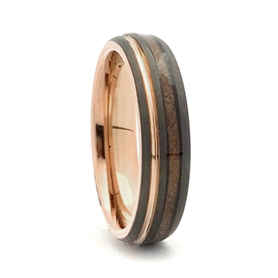 Comfort Fit Domed 6mm Tungsten Carbide Ring With Genuine Wood from Jack Daniels Whiskey Barrel Inlay And Rose Gold Color Accents by Steel Revolt