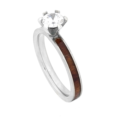 Comfort Fit Domed 3mm Titanium Engagement Ring With Center CZ and Wood from Jack Daniels Whiskey Barrel Inlay by Steel Revolt