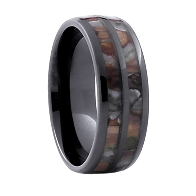 Comfort Fit 8mm High-Tech Ceramic Wedding Ring With Genuine Mammoth Tooth Inlay by Steel Revolt