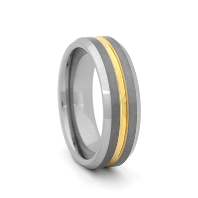 Comfort Fit Two Tone 7mm Tungsten Carbide Wedding Band with Gold Color PVD Plated Groove by Steel Revolt