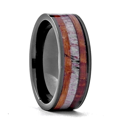 Comfort Fit 8mm Black High-Tech Ceramic Ring With a Genuine Wood From Jack Daniels Whiskey Barrel and Genuine Antler Inlay by Steel Revolt