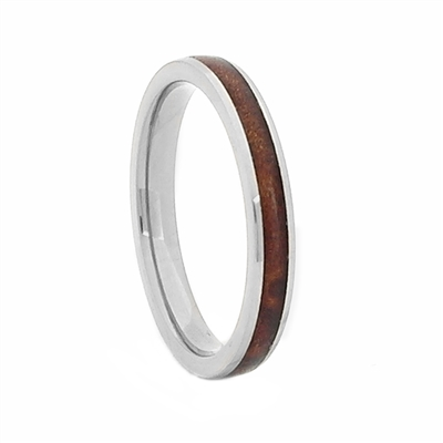 Comfort Fit Domed 3mm Titanium Ring With Genuine Wood from Jack Daniels Whiskey Barrel Inlay by Steel Revolt