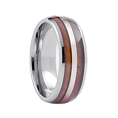 Comfort Fit Domed 8mm Tungsten Carbide Ring With Genuine Wood from Jack Daniels Whiskey Barrel Inlay And Gold Color Accent Line by Steel Revolt