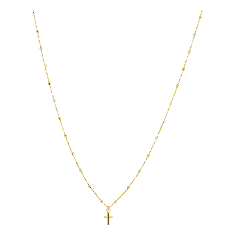 Yellow Gold Tiny Cross on Rosary Style Chain by Oro International Inc.
