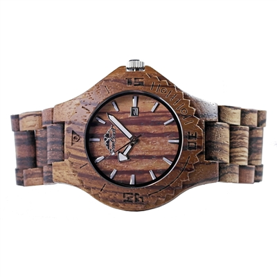 Zebra Wood Watch Featuring Date and Japanese Movement by Steel Revolt