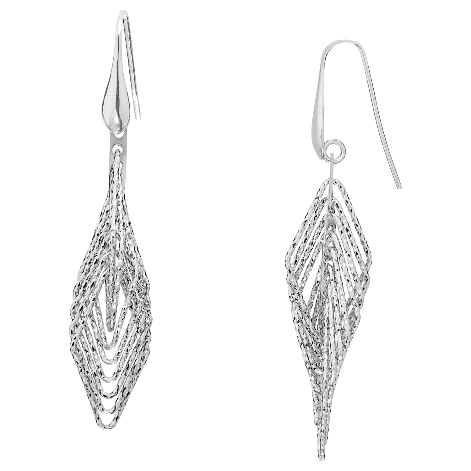 Sterling Silver Diamond Shaped Drop Earrings by Oro International Inc.