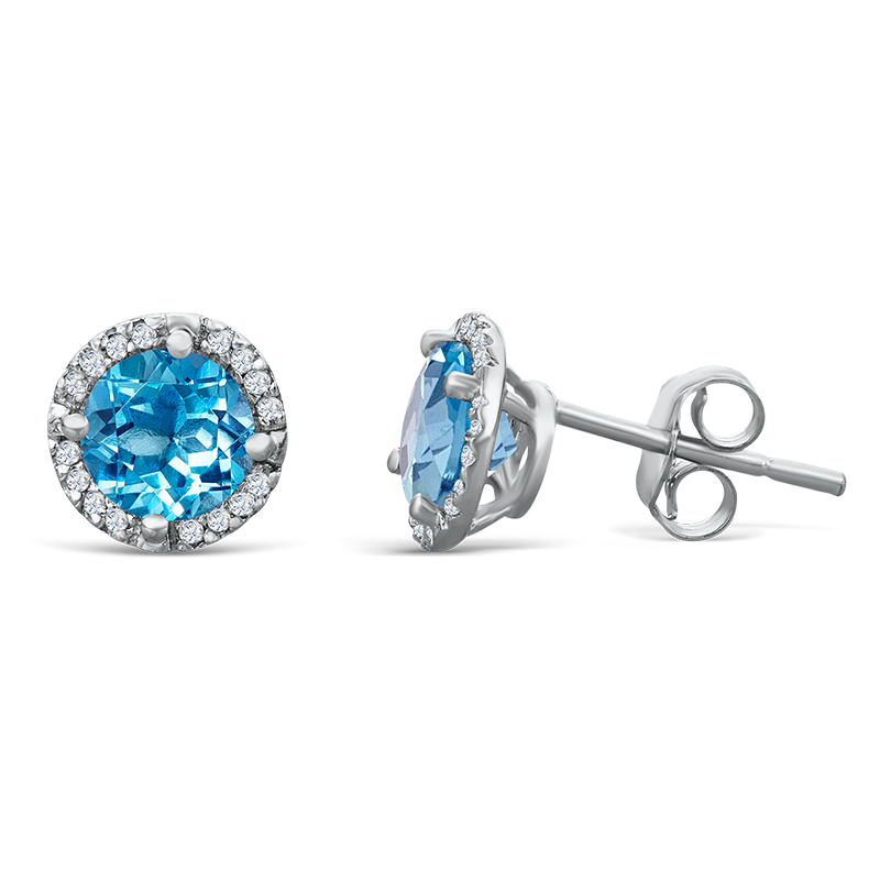 925 Sterling Silver 1.07ctw Blue Topaz & Diamond Halo Earrings by MK Jewelry