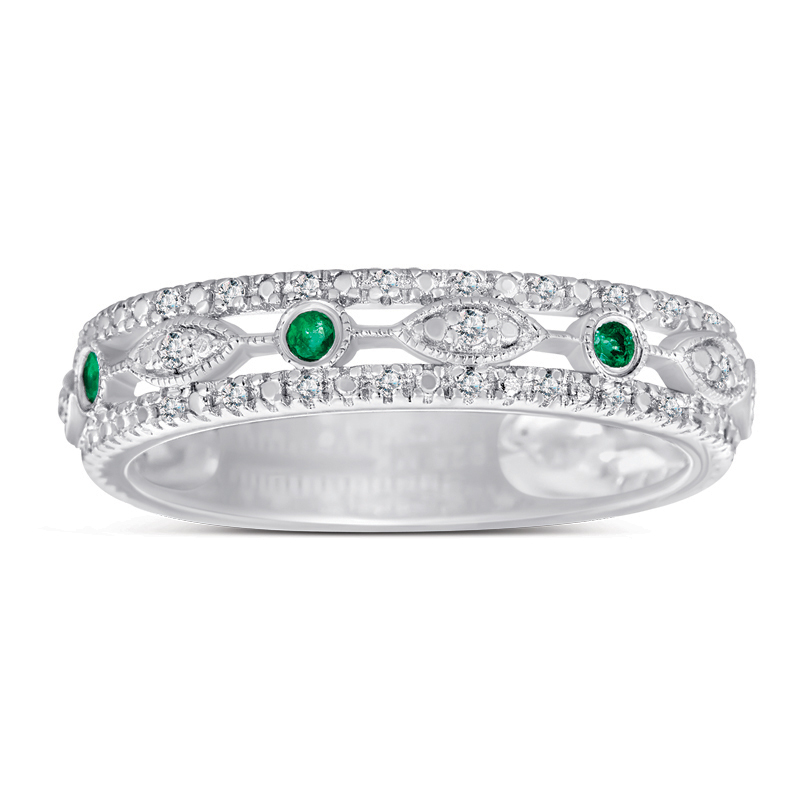 925 Sterling Silver Emerald & Diamond Band by MK Jewelry