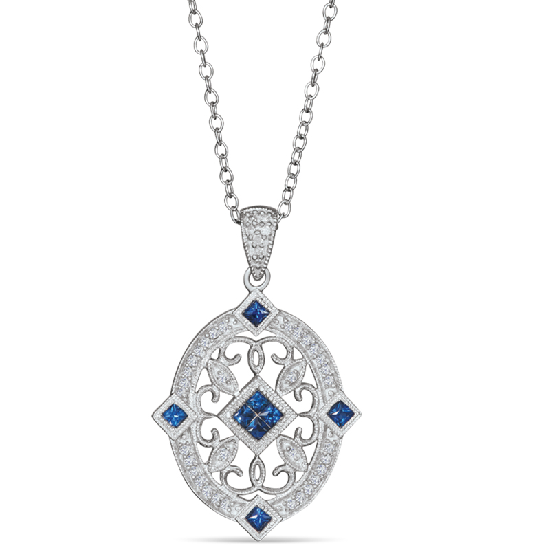 925 Sterling Silver Sapphire & Diamond Pendant by MK Jewelry